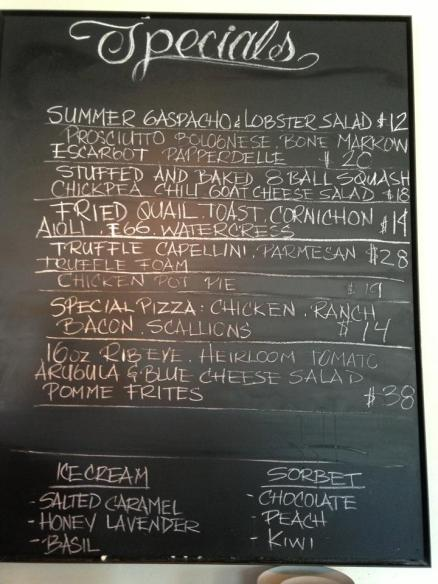 The Specials board on my first night