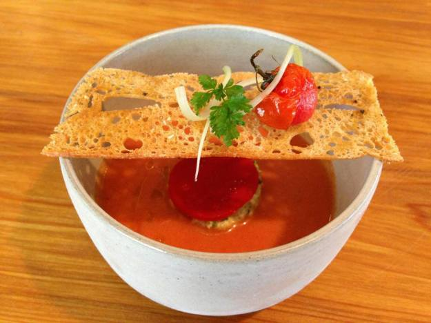 "Summer Gazpacho with Lobster Salad - ""my"" dish for the evening!"