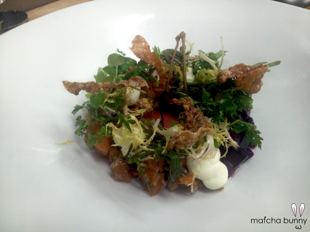 Salmon Tartare with Roasted Beets, Wasabi Mousse, and Crispy Salmon Skin Cracklings