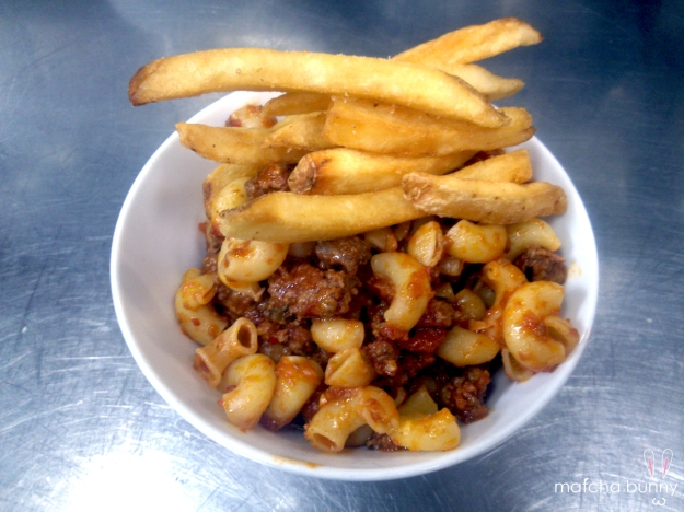 Family Meal: Pasta Bolognese with French Fries