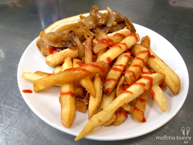 Family Meal: Hot Dogs with Caramelized Onions and Sriracha Fries (or as I like to call it, NOT CHICKEN!)