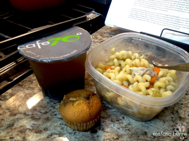 Celebratory Meal: homemade chicken noodle soup, boba, and complimentary muffin from the boba shop owner.