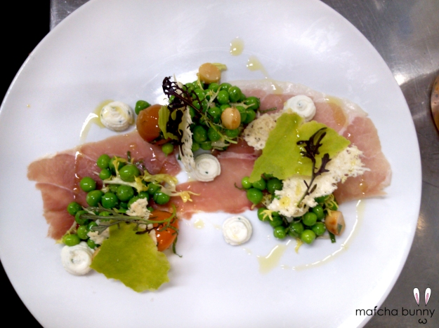 Pea Salad - Peas, Macadamia Nuts, Confit Tomatoes, Bentons Ham, Goat Cheese, Parmesan Tuille