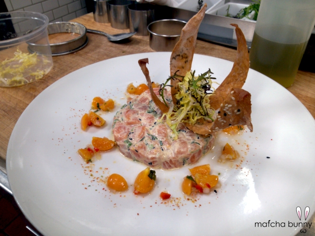 New plating for the salmon poke dish