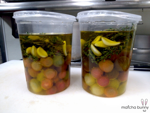 Confit Heirloom Cherry Tomatoes - slow cooked in olive oil infused with thyme, garlic, and bay leaf aromatics
