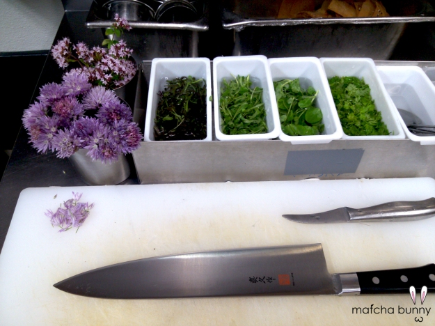 My mise en place today was extra pretty with the addition of chive blossoms and oregano flowers from our herb garden