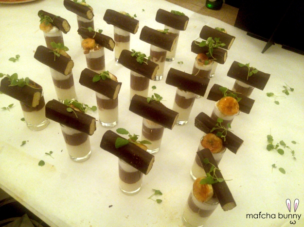 Plating up our dessert for the event!