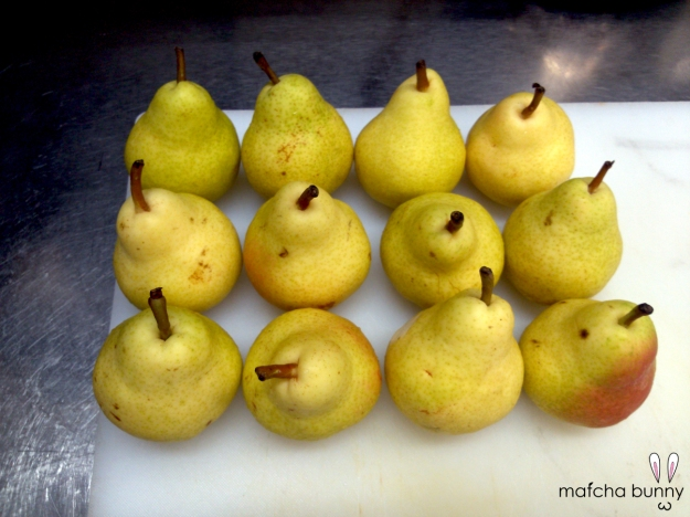 My Army of Bartlett Pears for the Pork Pate Garnish