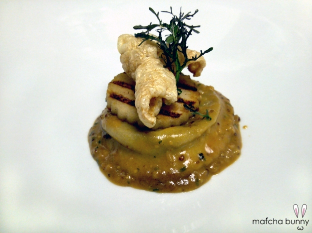 Pork Shank Ravioli, Grilled Apple, Pommery Mustard