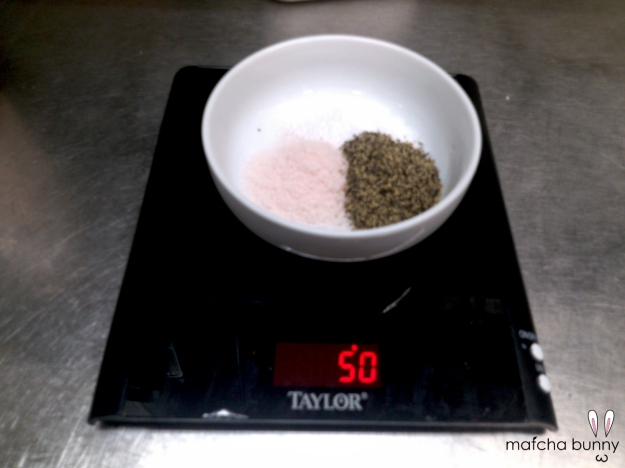 Carefully weighing out my salts for the chicken liver mousse