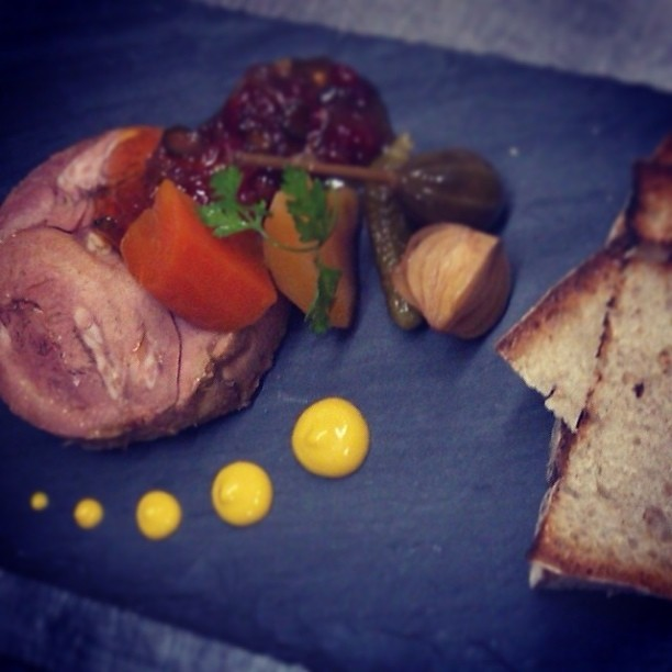 Braised Veal Tongue Terrine -- sous vide carrots, chili marmalade, mustard.