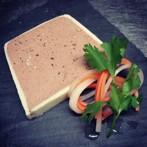 Chinese 5-Spice Pork Liver Mousse with Pickled Carrots and Daikon